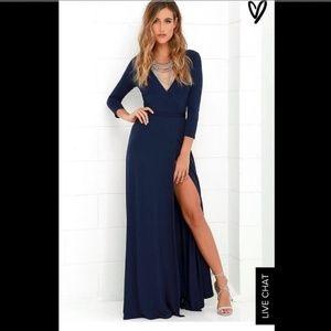Lulus GARDEN DISTRICT NAVY BLUE WRAP MAXI DRESS